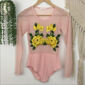 Long sleeve body suit with embroidery